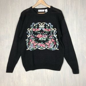 Vintage floral wreath needlepoint sweater black M